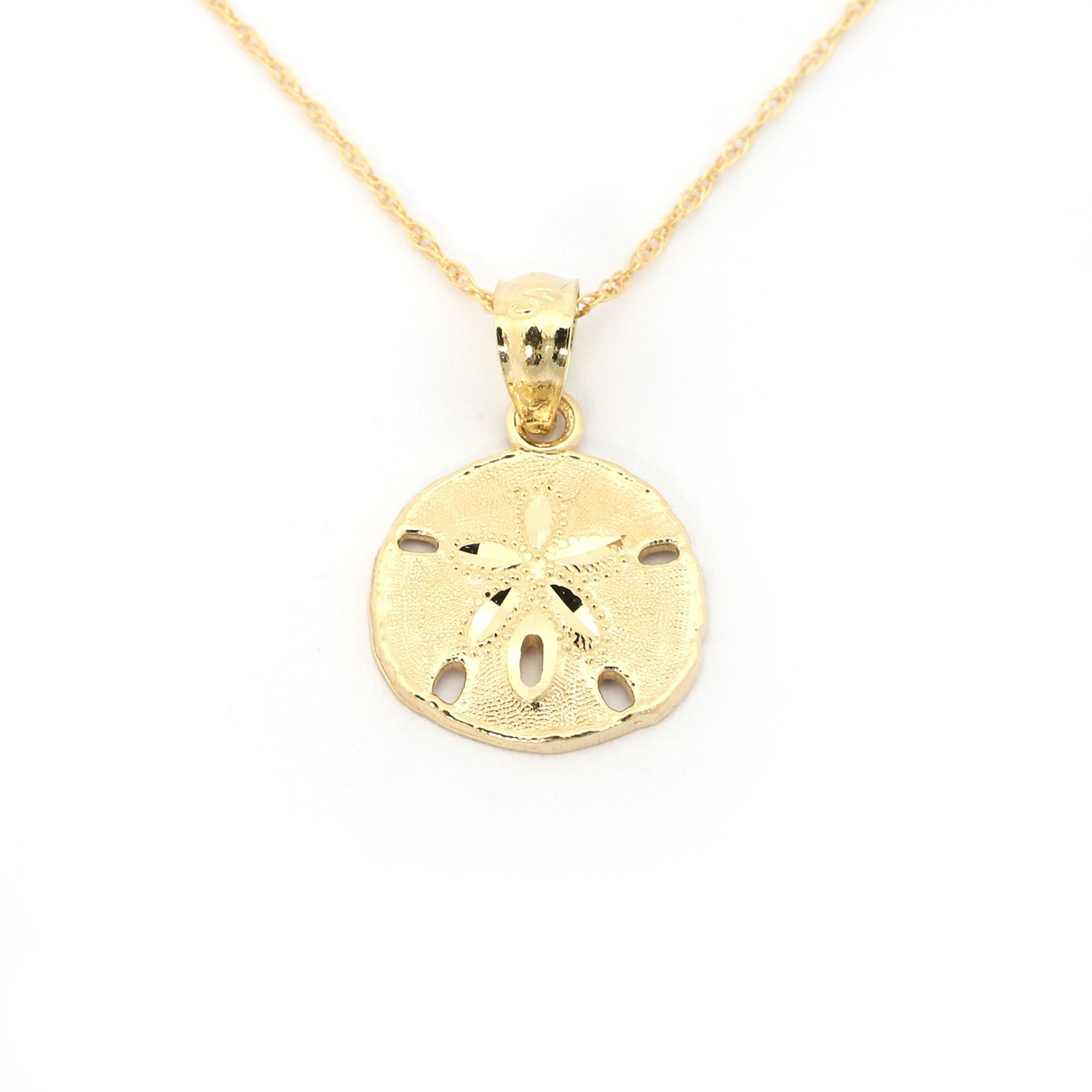 14k Yellow Gold Small Sand Dollar Pendant Necklace, 20 inches