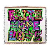 Woven Blanket Faith Hope Love Neon