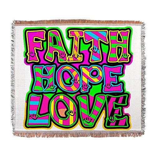 Woven Blanket Faith Hope Love Neon by Royal Lion