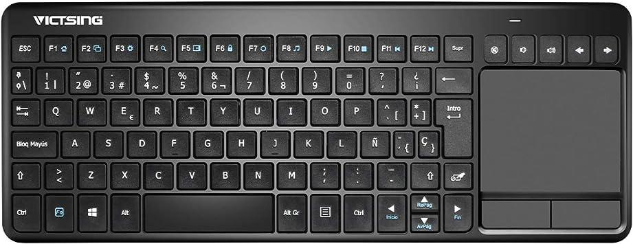VICTSING Ultra Delgada Mini Teclado Inalámbrico Touchpad con 2.4G B Receptor, QWERTY Español Incluye Ñ para PC/Laptops/Tablet/Smart TV/Portátil – Negro: Amazon.es: Informática