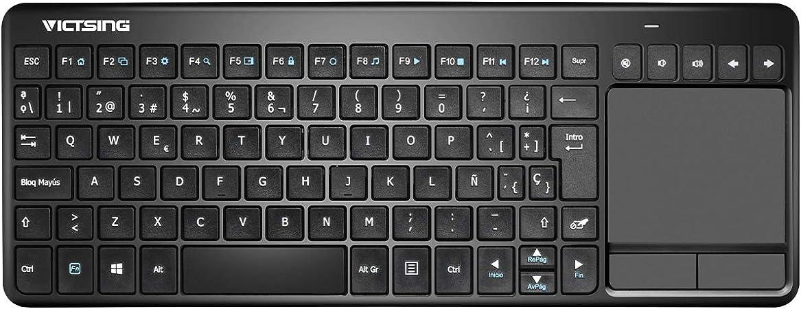 VICTSING Ultra Delgada Mini Teclado Inalámbrico Touchpad con 2.4GB Receptor, QWERTY Español Incluye Ñ para PC/Laptops/Tablet/Smart TV/Portátil – Negro