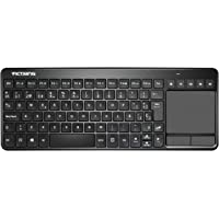 VicTsing Ultra Delgada Mini Teclado Inalámbrico Touchpad con 2.4G B Receptor, QWERTY Español Incluye Ñ para PC/Laptops/Tablet/Smart TV/Portátil – Negro