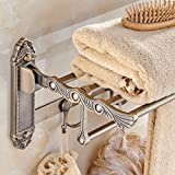 lzzfw Towel racks gold antique activities folding bathroom pendant suite towel rack, H