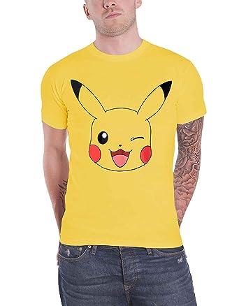 61410ac21 Amazon.com: Pokemon T Shirt Pikachu Winking Game Pokeballs Official ...