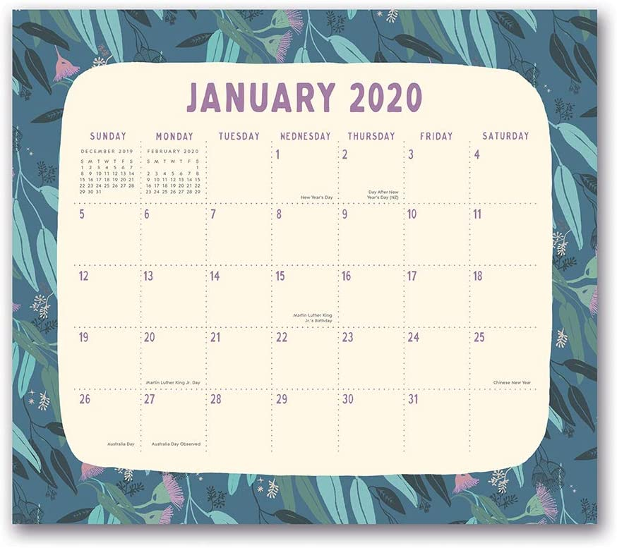 Orange Circle Studio 2020 Magnetic Monthly Calendar Pad, Botanicals
