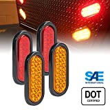 2 AMBER + 2 RED 6'' Oval (24) LED Trailer Tail Light Kit - DOT Certified STOP TURN BRAKE Tail Light