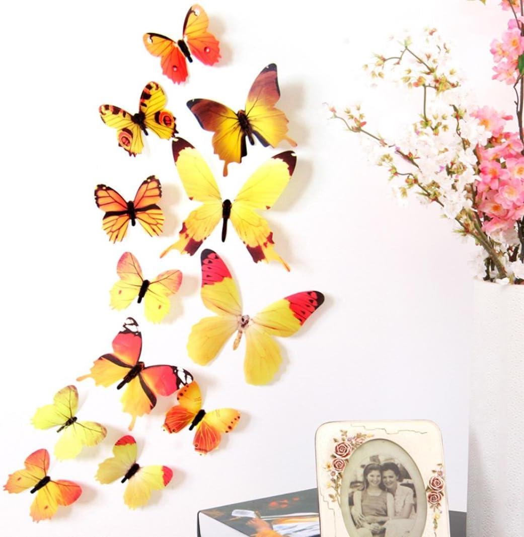 12pcs PVC 3D mirror butterly sticker Art Decor butterflies  wall stickers Green