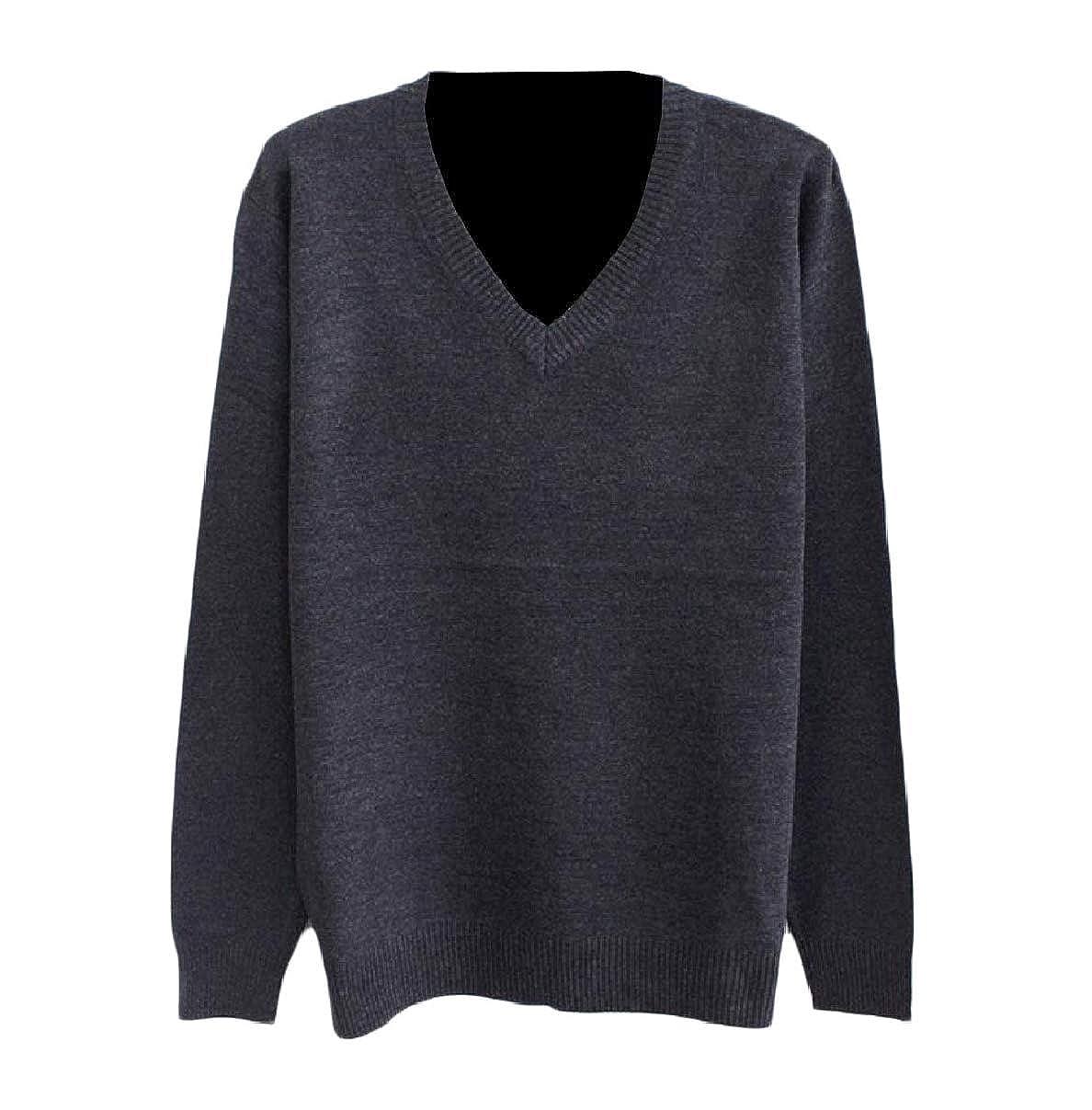 RDHOPE-Men Leisure Warm Soft Solid Fitted V-Neck Knit Jumper Pullover