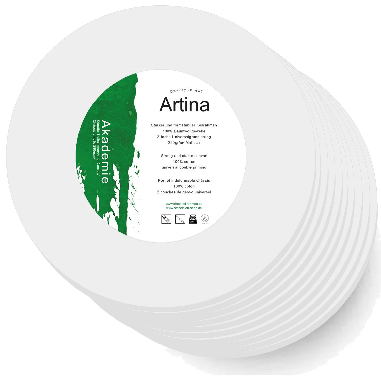 Artina Set da 10 tele per pittura rotonde Ø 10cm 280g/m² intelaiate pronte per dipingere per artisti pittori belle arti
