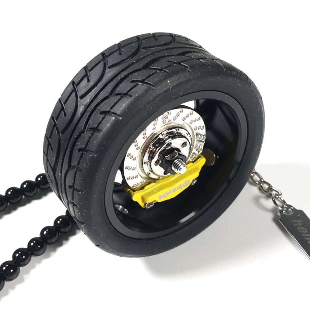 YGMONER Car Aluminium Alloy Hub Rearview Mirror Pendant black