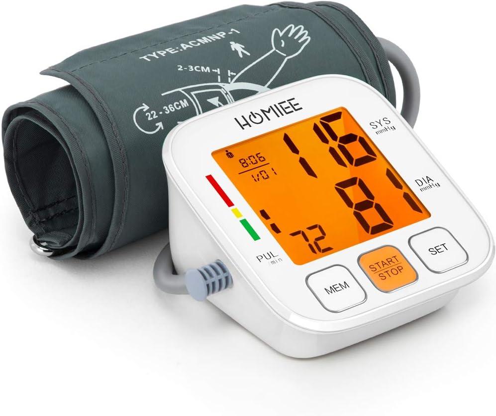 HOMIEE Monitor de Presión Arterial, Brazo Superior Presión Arterial Digital con Retroiluminación de la Máquina Pantalla LCD de 3,5 Pulgadas, Brazalete Ancho de 22-36 cm, 90 Memorias para 2 Usuarios