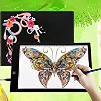 A4 Ultra-thin Portable LED Light Box Tracer USB Power Cable Dimmable Brightness Artcraft Tracing Light Pad Light Box Art Supplies Arts and Crafts for Girls Boys Kids Gift Set Tracing,Black