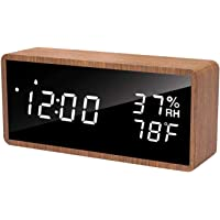 meross Digital Alarm Clock for Bedrooms, Real Wood, LED Display Desk Clock, Time Temperature Humidity, 3 Sets of Alarms…