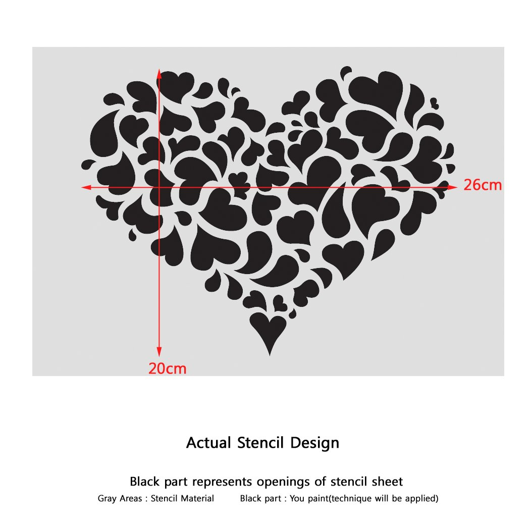 Amazon Com J Boutique Stencils Heart Reusable Stencil For Painting