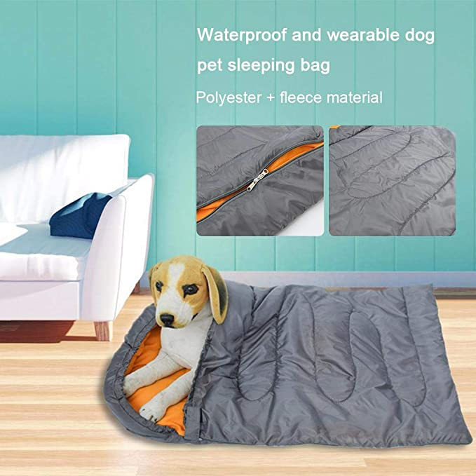 Dog Sleeping Bag Large 45* 29 TEEPAO Waterproof Pet Outdoor Bed Backpacking Soft Kennel Mat with Portable Storage Bag for Travel Camping Hiking Water Resistant
