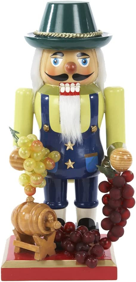 Kurt Adler Wooden Winemaker Nutcracker 10.25-Inch