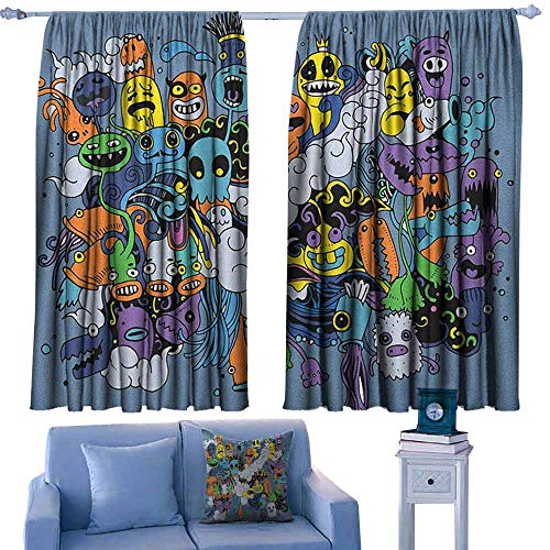 Indie Indoor Curtain Group of Funky Monsters Society Different Expressions Abstract Groovy Doodle Style,Decor Room Darkening IDE Curtains,W52 x L72 Inch (Best Ide For Groovy)