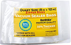 "50 Zipper Vacuum Sealer Bags: Quart Size (8"" x 12"") - OutOfAir Vacuum Sealer Zip Bags for Foodsaver, Weston, Other Savers. 33% Thicker BPA Free FDA Approved Commercial Grade Great for Snacks"