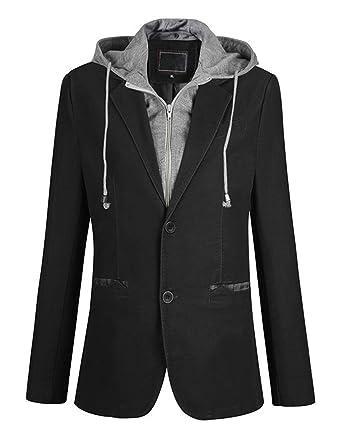 a15d11bcb84 Itemnew Man s Stylish Detachable Hooded Slim 2 Button Casual Blazer Jacket  (X-Small