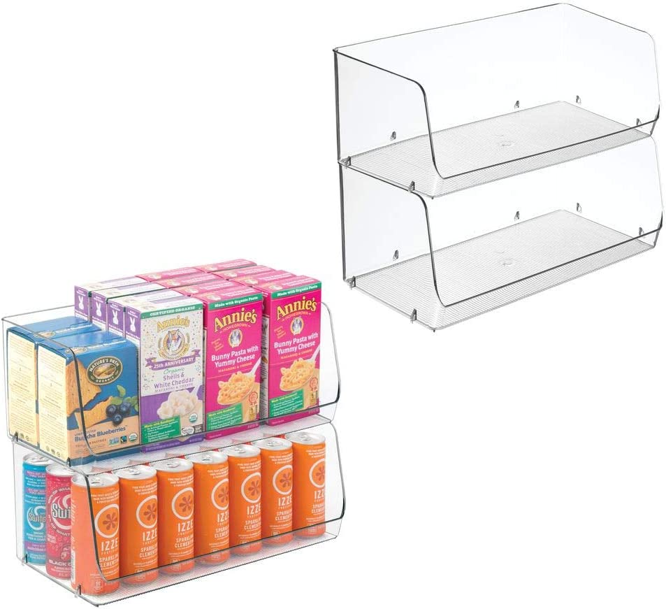 """mDesign Extra Large Household Stackable Plastic Food Storage Organizer Bin Basket with Wide Open Front for Kitchen Cabinets, Pantry, Offices, Closets, Bedrooms, Bathrooms - 15"""" Wide, 4 Pack - Clear"""