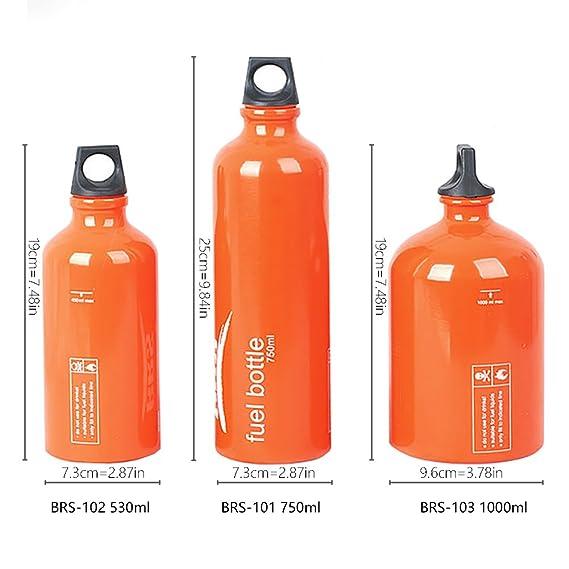 BRS Brs Outdoor Camping Gasolina Keroseno Alcohol Líquido Tanque de Gas Botella de Almacenamiento de Combustible (BRS-102 530ml): Amazon.es: Deportes y aire ...