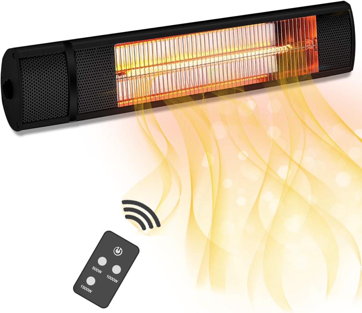 Aqziill - Calentador de Patio para Exteriores con Mando a Distancia (120 V, IP65, Resistente al Agua), Color Negro: Amazon.es: Jardín