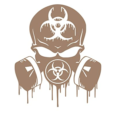 UR Impressions BTan Skull Dripping Biohazard Respirator Decal Vinyl Sticker Graphics for Cars Trucks SUV Vans Walls Windows Laptop|Buckskin TAN|5.5 X 5 inch|URI349-BT: Automotive
