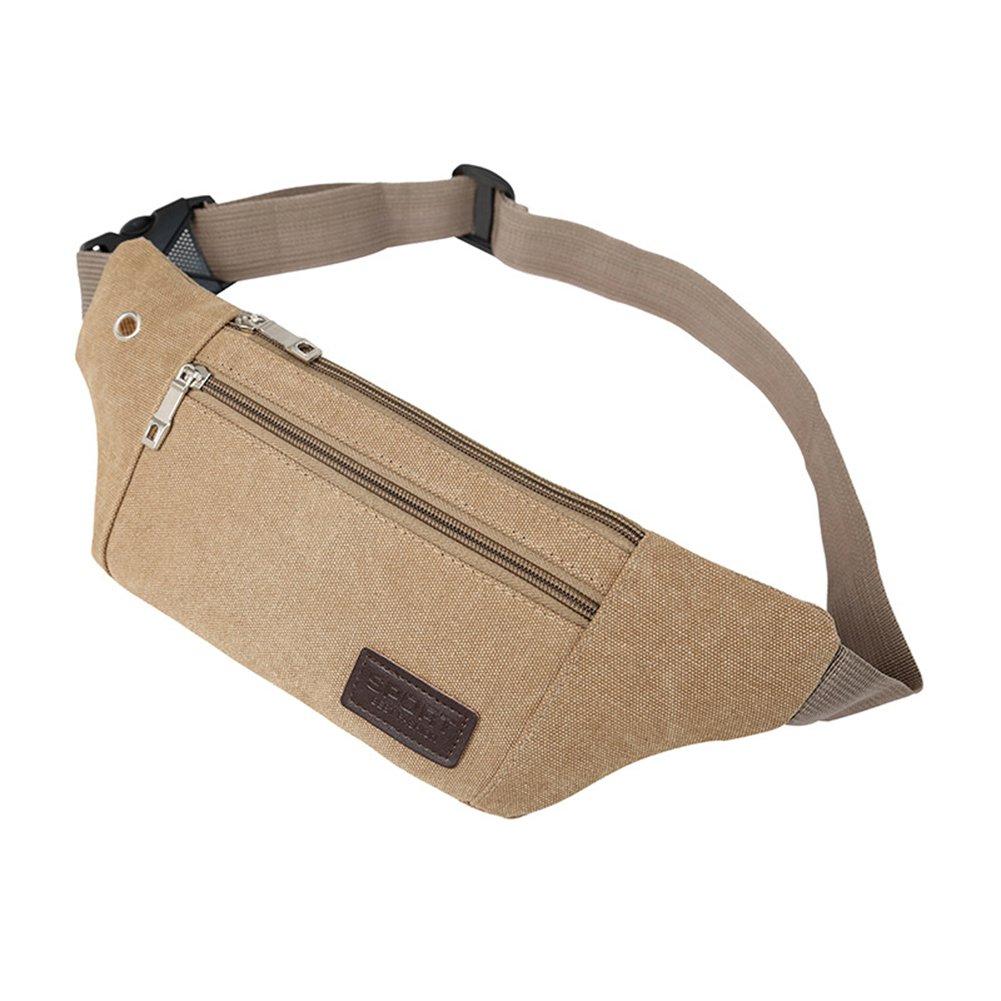 Lymocha 1 Pieza Riñ onera para Portadocumentos Viaje Pack Deportes Unisex Travel Paquete de Correas de Senderismo Bolso de Cintura Size 12 * 20 * 8.0cm (Khaki)