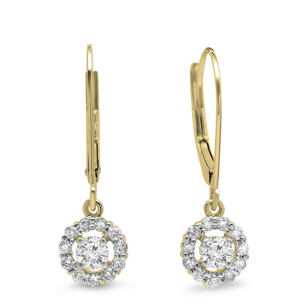 0.55 Carat (ctw) 14K Yellow Gold Round Cut Diamond Ladies Cluster Halo Style Drop Earrings 1/2 CT