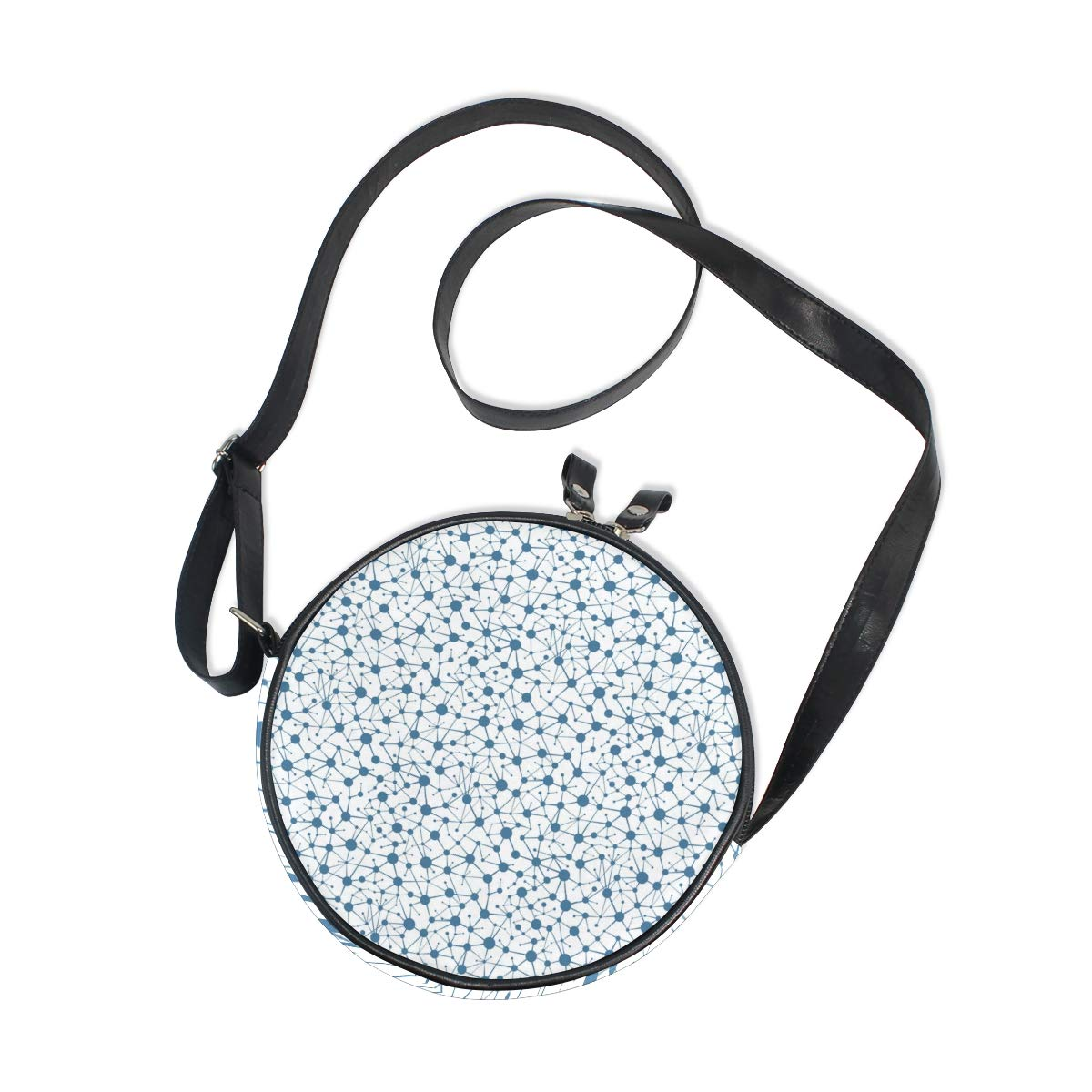 Crossbody Bag Blue Communication Lines And Dots Gifts Womens Casual Phone Pouch Round Shoulder Bag