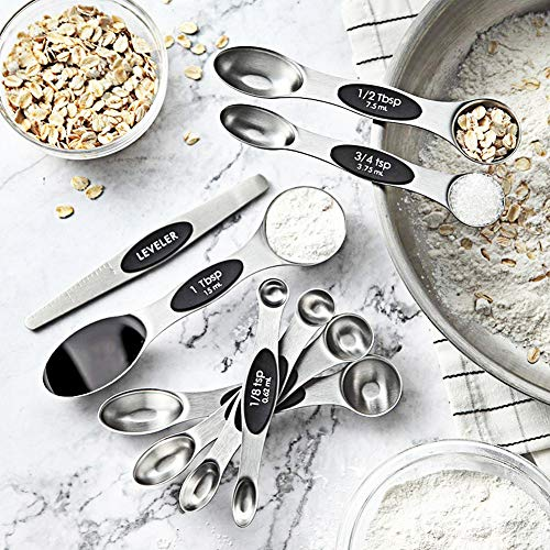 Measuring Spoons, Magnetic Measuring Spoons Set of 8 Stainless Steel Dual Sided Teaspoon and Tablespoon Stackable with Leveler Fits in Different Spice Jars for Dry and Liquid Ingredients