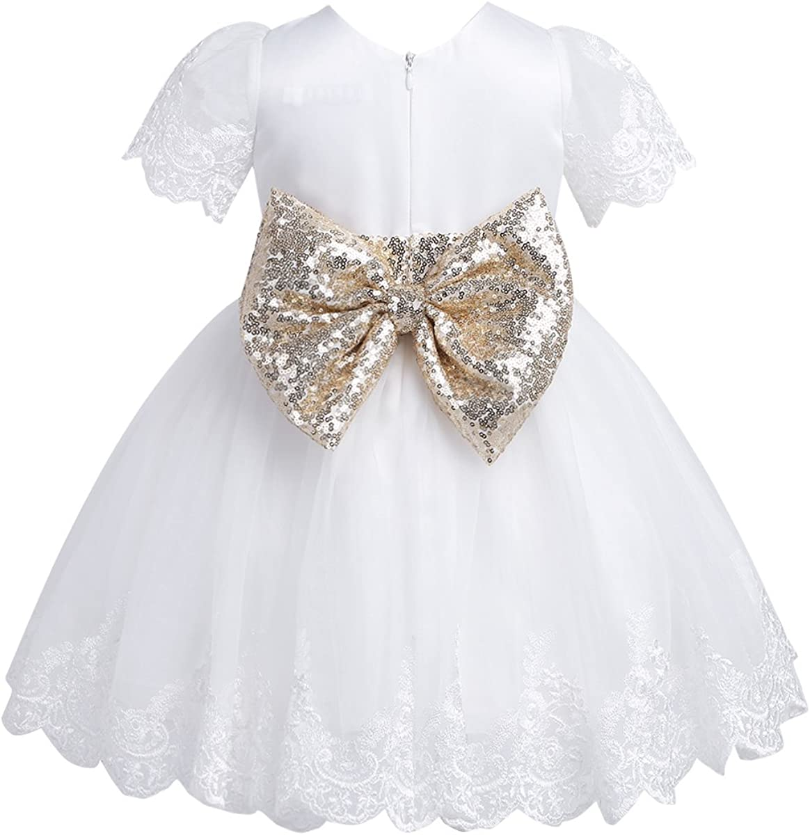 TiaoBug Baby Girls Sequined Bowknot Flower Girl Dress Embroidered Wedding Birthday Party Tutu Gown