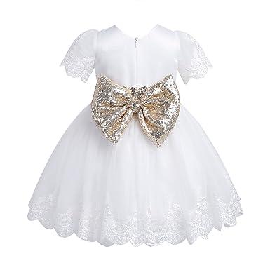 Papillon Freebily De Soirée Sequins Bébé Manches Dentelle Paillettes Fille Robe Baptême Princesse Courts Noeud À D'anniversaire n0OPX8kw