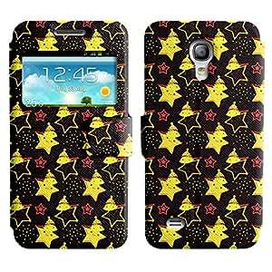 Be-Star Diseño Impreso Colorido Slim Casa Carcasa Funda Case PU Cuero - Stand Function para Samsung Galaxy S4 mini / i9190 / i9192 ( Yellow Stars )
