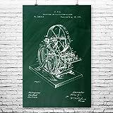 Patent Earth Calculating Machine Poster Print, Accountant Gift, Adding Machine, Math Teacher, Mechanical Engineer, Science Class Chalkboard (Green) (11'' x 14'')
