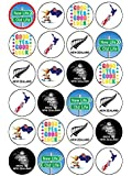 """24x New Zealand Emigration Party 1.5"""" (3.8cm) PRE- CUT PREMIUM RICE PAPER Edible Cake Toppers"""