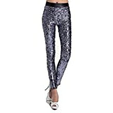 6198b542991 Betty-Boutique Silver Sequin Front PU Leggings Size 8-12  Amazon.co.uk   Clothing
