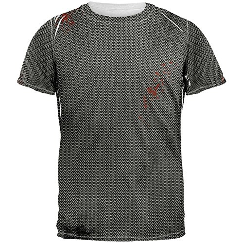 (Old Glory Halloween Battle Damage Chainmail Costume All Over Adult T-Shirt -)