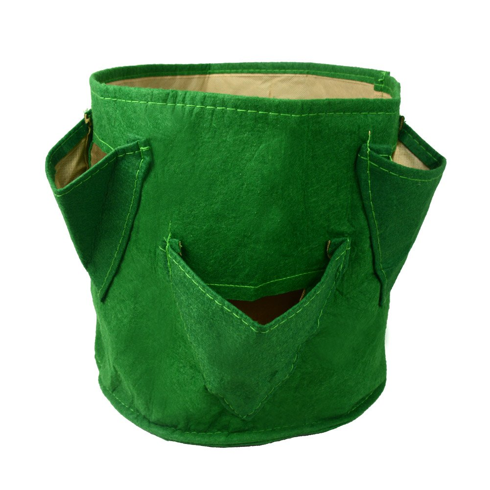 Daul Layer Green 6 Pockets Non-Woven Fabrics Potato Tub Grow Strawberry Patio Recycled Growing Bag