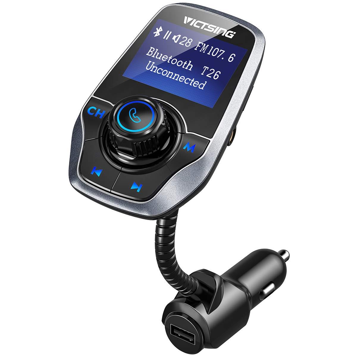 VICTSING Transmetteur FM Bluetooth Adaptateur Bluetooth Autoradio Kit Voiture Main-libre Sans Fil Adaptateur Radio avec Double Port USB 5V/ 2.1A et Port Audio 3,5mm(Noir)