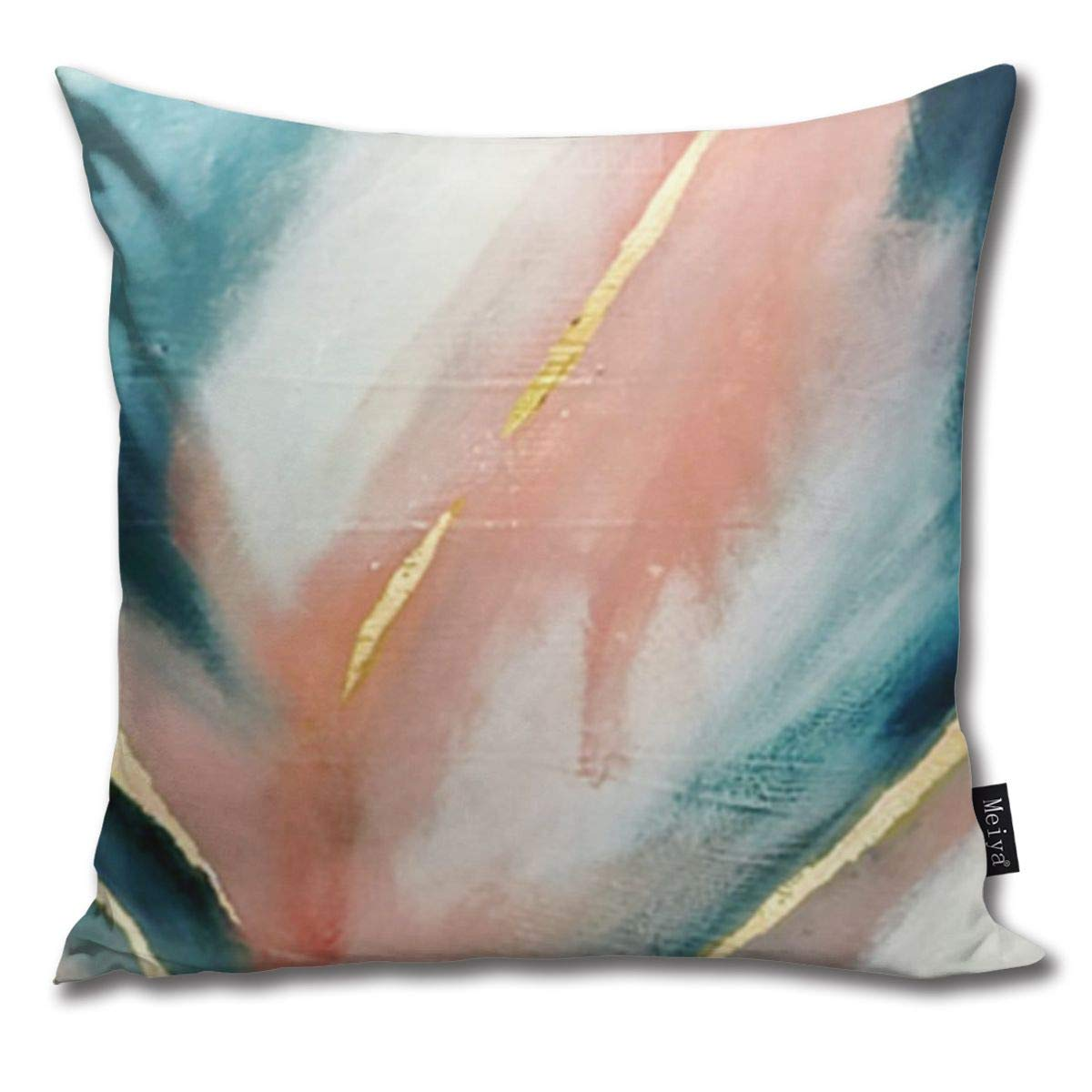 and Gold by Alyssa Hamilton Art Pillowcase Home Life Cotton Cushion Case 18 x 18 inches Blue Celestial A Minimal Abstract Mixed Media Piece in Pink