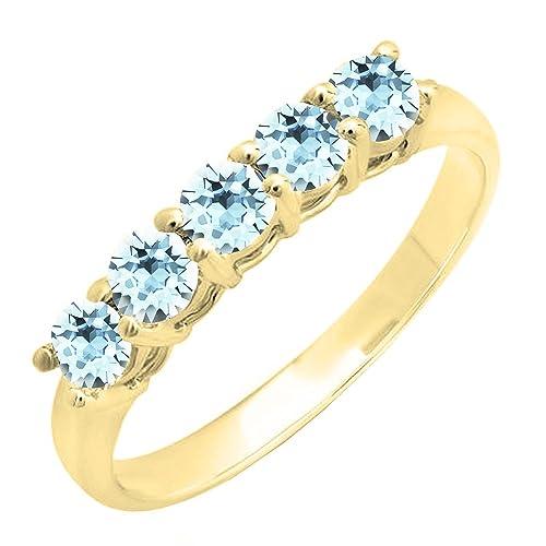 DazzlingRock Collection 14K oro amarillo redondo 3.6MM cada piedra preciosa 5 piedras anillo de bodas