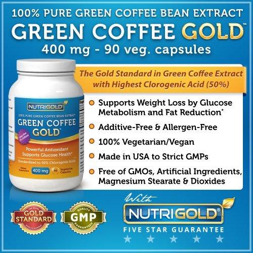 100% Pure Green Coffee Bean Extract, 400 mg, 90 Veg. Caps...