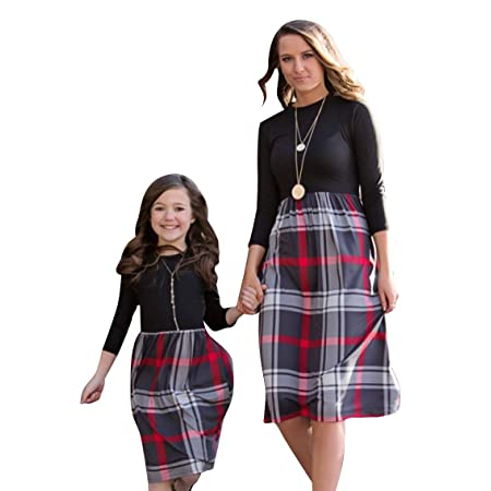 YMING Matching Mommy and Daughter Dresses Parent-Child Outfits