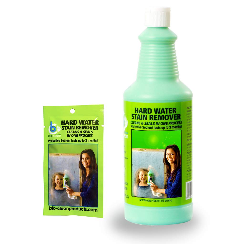 Bio Clean: Eco Friendly Hard Water Stain Remover (40oz Large)- Our Professional Cleaner Removes Tuff Water Stains From Shower doors, Windshields, Windows, Chrome, Tiles, Toilets, Granite, steel e.t.c by Bio Clean shower door cleaner