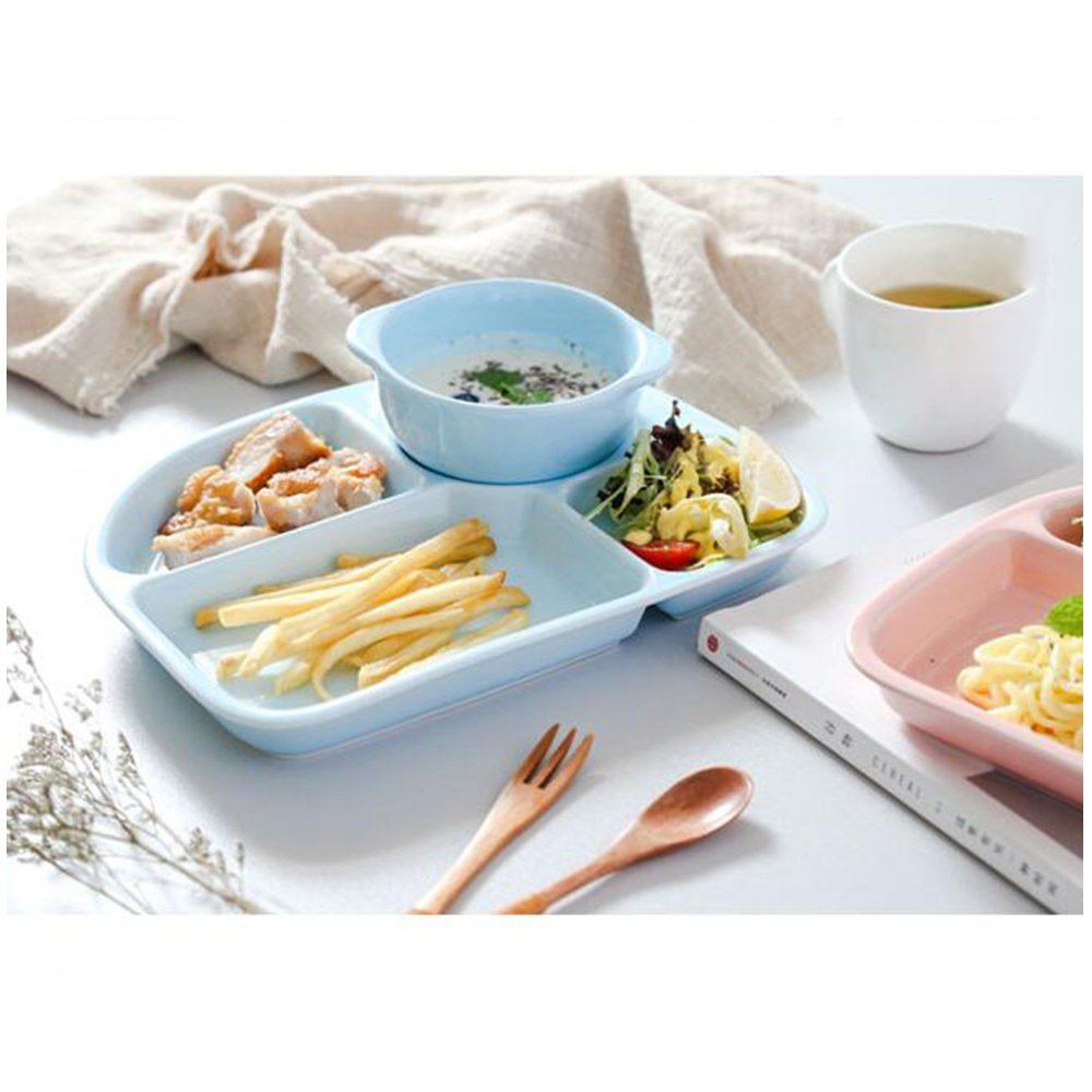guodongdong Tableware Ceramic Creative Children's Snack Tray Separated Dining Tray Adult Separated Dishes Home Duoge,Blue by guodongdong (Image #3)