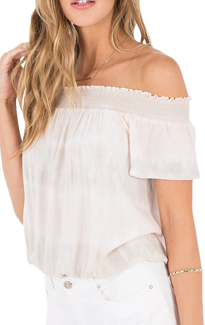 Others Follow OT182695 Sunset Off The Shoulder Top in Stone