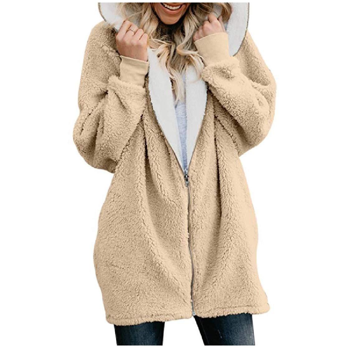 YUNY Women Mid-Long Warm Zip Up Hoode Velvet Relaxed Outwear Jacket Apricot XL