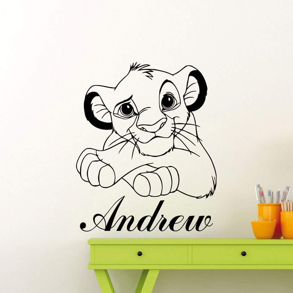 ASFGA Nombre Personalizado calcomanía de Pared de león Papel de Dibujos Animados jardín de Infantes habitación de los niños Sala de Estar bebé decoración del hogar Mural extraíble 57 x 69 cm