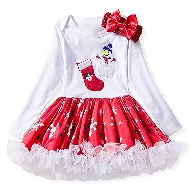 ddellk Vestido de Navidad para niñas, Traje de Falda de Manga ...